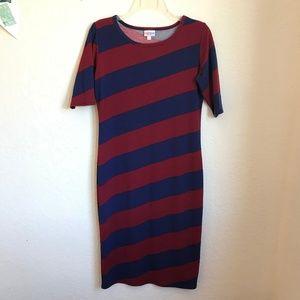 LuLaRoe Julia striped dress red blue diagonal s